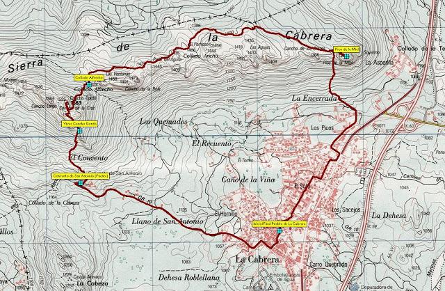 Mapa Vuelta a la cabrera